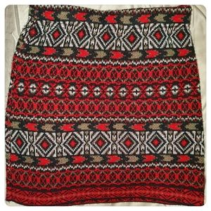 Perfect Wool Holiday Patterned Mini Skirt Size S